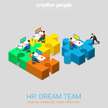 Illustration pour HR human relations dream team solution flat 3d web isometric infographic concept vector. Businessman pushing puzzle piece with company newbie workplace to the team. Creative people collection. - image libre de droit