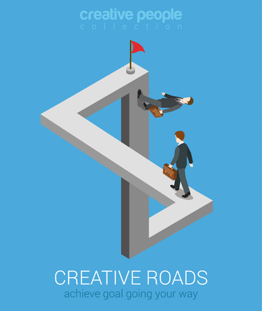 Illustration for Creative ways to achieve goal flat 3d web isometric infographic business concept vector. Impossible fairy maze fable nonexistent crossing roads optical illusion. Creative people collection. - Royalty Free Image