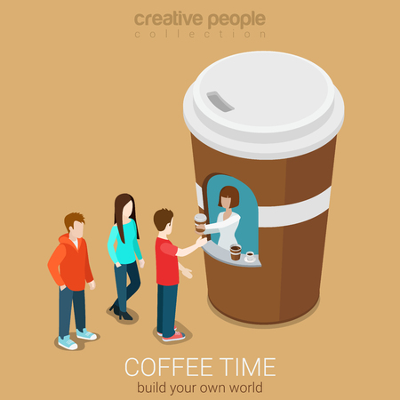 Ilustración de Coffee mini sales point concept flat 3d web isometric infographic concept vector. Line of customers waiting for hot beverage near stylish street paper cup building. Creative people collection. - Imagen libre de derechos