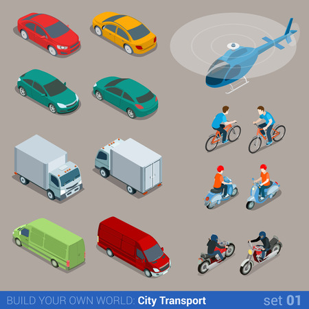 Foto de Flat 3d isometric high quality city transport icon set. Car van bus helicopter bicycle scooter motorbike and riders. Build your own world web infographic collection. - Imagen libre de derechos