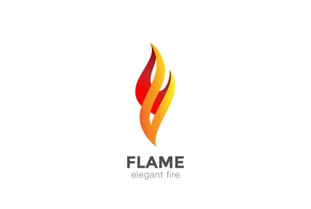 Illustration for Fire Flame Logo abstract design vector elegant Fashion Jewelry template. - Royalty Free Image