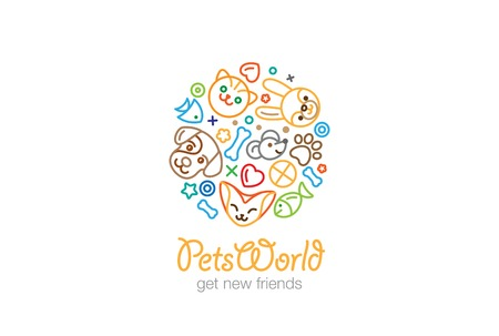 Pet Shop Veterinary clinic Logo design vector template linear style.