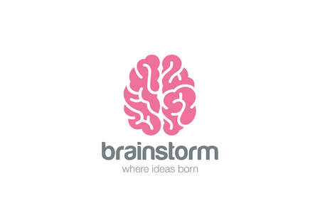Illustration pour Brain Logo silhouette top view design vector template.  Brainstorm think idea Logotype concept icon. - image libre de droit