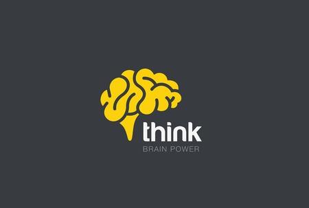 Illustration pour Brain Logo silhouette design vector template. Think idea concept. Brainstorm power thinking Logotype icon. - image libre de droit