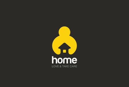 Foto de Man holding hands House Logo design vector template negative space style. Repair household service Logotype icon. Love home security concept. - Imagen libre de derechos