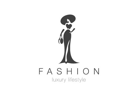 Illustration for Fashion Luxury Glamour Elegant Woman silhouette Logo design vector template. Lady negative space jewelry accessories Logotype concept icon. - Royalty Free Image