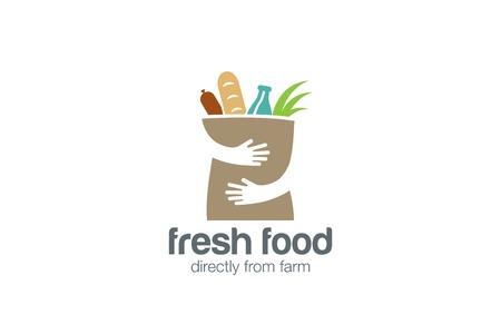 Ilustración de Fresh Food Shopping Logo design vector template. Hands Holding Bag Logotype concept negative space icon. - Imagen libre de derechos