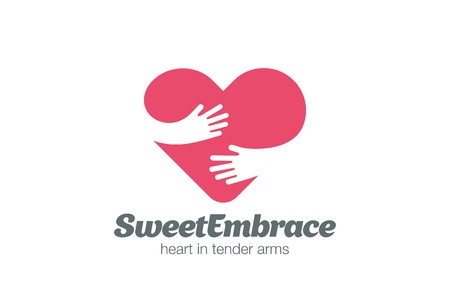 Ilustración de Embrace Heart Shape Logo design vector template. Valentine Day Love Concept: Embracing Logotype negative space icon. - Imagen libre de derechos
