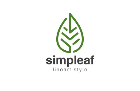 Illustration for Abstract Leaf Logo design vector template linear style. - Royalty Free Image