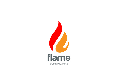 Illustration for Fire Flame Logo design vector template drop silhouette. Creative Droplet Burn Elegant Bonfire Logotype concept icon. - Royalty Free Image