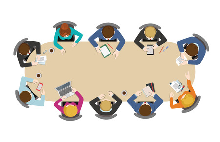 Illustration pour Office table top view business flat web infographic concept vector. Staff around table working tablet laptop empty background. Brainstorm report planning. Creative people collection. - image libre de droit