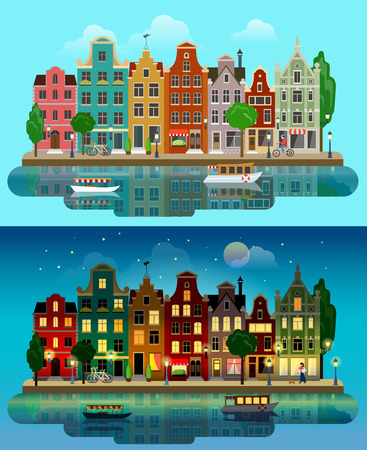 Illustration pour Flat cartoon multicolor colorful historic buildings city town suburb set day and sunset night Amsterdam Holland. River canal channel boat embankment street bicycles. Urban life lifestyle collection. - image libre de droit