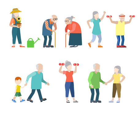 Illustration pour Flat style modern people icons oldies situations web template infographic vector icon set. Grey men women granny grandpa healthy lifestyle icons. - image libre de droit