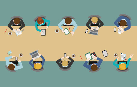 Illustrazione per Office table top view business flat web infographic concept vector. Staff around table working tablet laptop empty background. Brainstorm report planning. Creative people collection. - Immagini Royalty Free