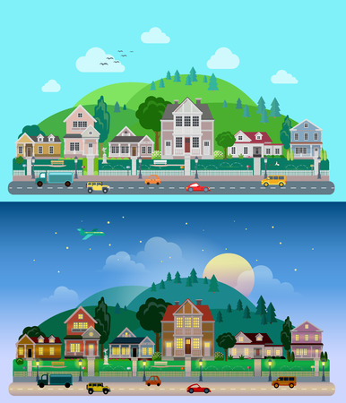 Illustration pour Flat cartoon city town suburb set day and sunset night hilly mountains on background. Road transport street traffic before line of low-rise buildings townhouse mansion house. World cities collection - image libre de droit