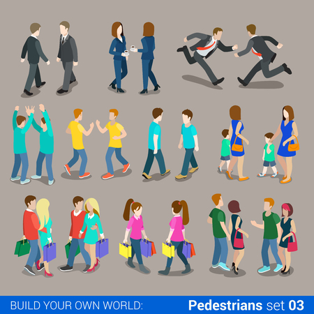 Illustration pour Flat 3d isometric high quality city pedestrians icon set. Business people, casual, teens, couples, Carrying Shopping bags. Build your own world web infographics collection. - image libre de droit