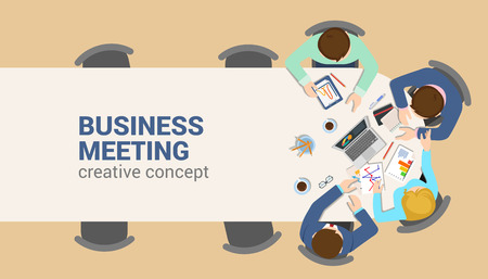 Ilustración de Office table top view business meeting flat web infographic concept vector. Staff table report analytics working tablet laptop empty background. Brainstorm report planning. Creative people collection. - Imagen libre de derechos
