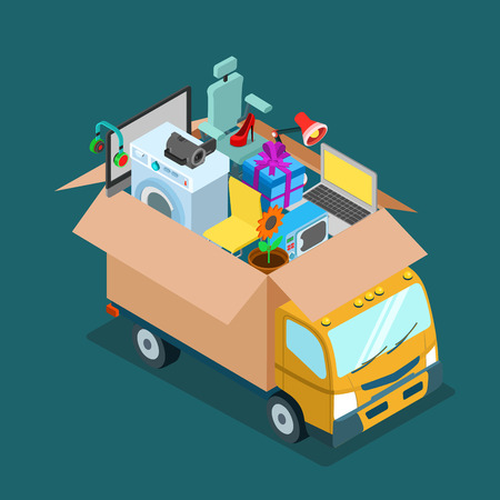 Illustration pour Flat 3d isometric online internet web shopping delivery or home office moving concept. Mover van car lorry with open deliver box full of electronics goods gift present. Website conceptual infogaphics. - image libre de droit
