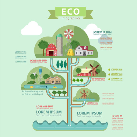Illustration pour Flat style thematic eco infographics concept. Nature ecology lifestyle water circulation tower info graphics. Farm countryside lake windmill wind turbine. Conceptual web site infographic collection. - image libre de droit