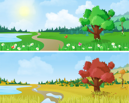 Ilustración de Tree on scenic landscape lake shore road seasons: spring summer autumn. Floral nature grass background changing seasons set collection. - Imagen libre de derechos