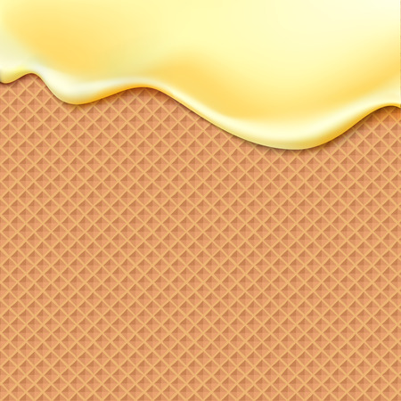 Illustration for Flowing yellow glaze on wafer texture sweet food vector background abstract. Melt icing ice cream on waffle seamless pattern. Editable - Easy change colors. - Royalty Free Image