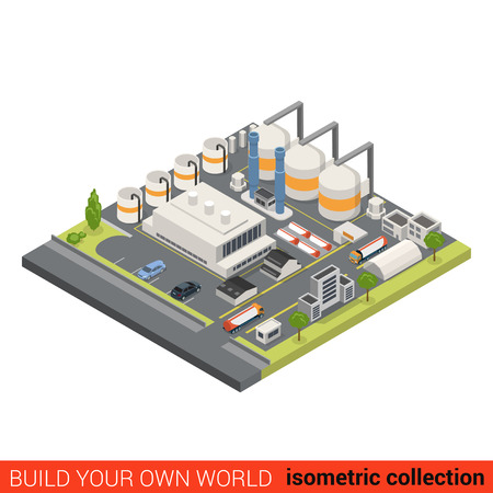 Illustration for Flat 3d isometric oil refinery building block infographic concept. Heavy industry processing plant chimney gas petroleum cistern. Build your own infographics world collection. - Royalty Free Image