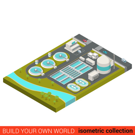 Illustration for Flat 3d isometric wastewater treatment plant building block infographic concept. City industrial waste water sewerage sewage sump sinker. Build your own infographics world collection. - Royalty Free Image