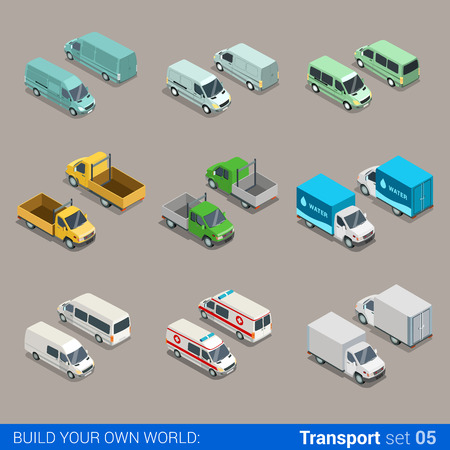 Illustrazione per Flat 3d isometric high quality city freight cargo transport icon set. Car truck van construction ambulance delivery water micro bus. Build your own world web infographic collection. - Immagini Royalty Free