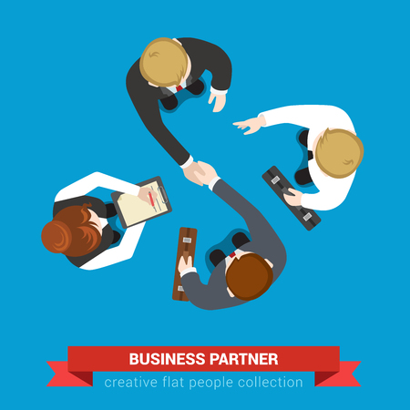 Illustration pour Business partner handshake deal contract meeting. Top view flat web infographic concept vector. Businessmen and assistants. Creative people collection. - image libre de droit