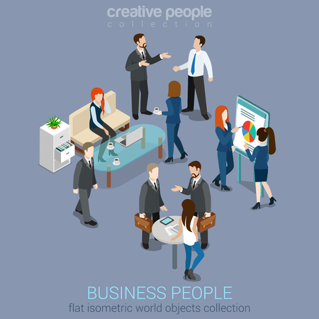 Ilustración de Flat 3d web isometric office room interior businessmen collaboration teamwork brainstorming waiting meeting negotiation infographic concept vector set. Creative people collection - Imagen libre de derechos