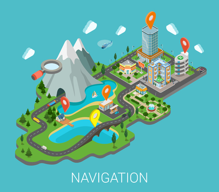 Illustrazione per Flat 3d isometric map mobile GPS navigation app infographic concept. City countryside lake mountain gas station park restaurant bridge hotel shopping mall route pin markers. Navigate info graphics. - Immagini Royalty Free