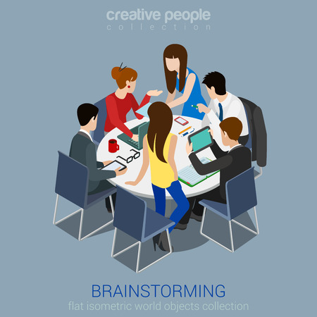 Illustration pour Brainstorming creative team idea discussion people flat 3d web isometric infographic concept vector. Teamwork staff around table laptop chief art director designer programmer. - image libre de droit