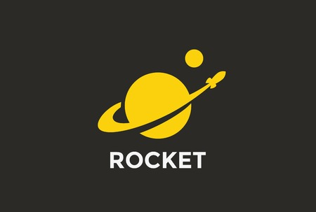 Ilustración de Rocket Planet Logo abstract design vector template Negative space style. Startup Logotype concept icon - Imagen libre de derechos