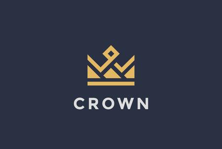 Ilustración de Geometric Crown abstract Logo design vector template.Vintage Royal King Queen symbol Logotype concept icon. - Imagen libre de derechos