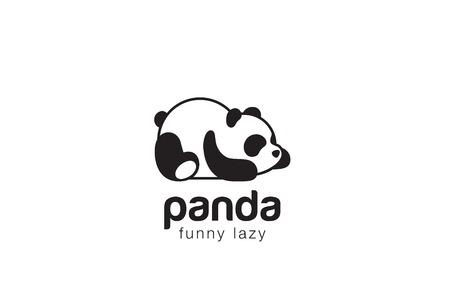 Illustration pour Panda bear silhouette design vector template. Funny Lazy animal concept icon. - image libre de droit