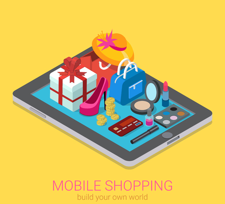 Illustrazione per Flat 3d isometric creative mobile shopping web infographics consumerism concept. Beauty accessory fashion clothes goods on big tablet. Creative people collection. - Immagini Royalty Free