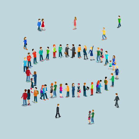 Illustration pour Flat 3d isometric style chat messaging web infographics vector illustration crowded square. Crowd group forming chatting cloud callout sign shape internet access point. Creative people collection. - image libre de droit