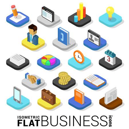 Illustration pour Flat 3d isometric trendy style business finance money web mobile app infographics icon set. Website application collection. - image libre de droit