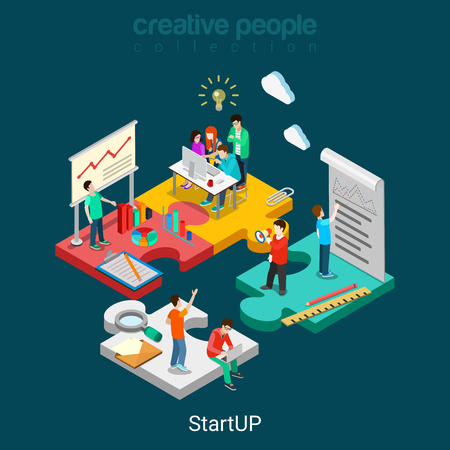 Illustration pour Flat 3d isometric StartUP concept web infographics vector illustration. Puzzle solution idea research report team business planning. Creative people collection. - image libre de droit