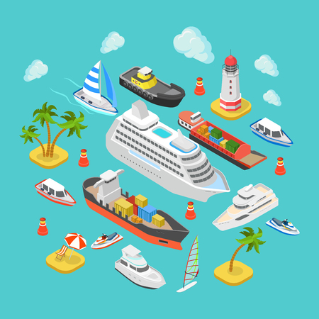 Foto de Flat 3d isometric ocean sea nautical water transport logistics concept web infographics vector illustration icon set. Cruise liner container longboat yacht jetski motor boat ship tropical beach island - Imagen libre de derechos