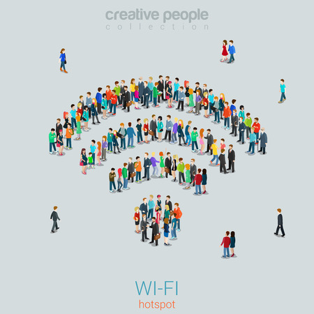 Illustration pour Flat 3d isometric style free public  hotspot concept web infographics vector illustration crowded square. Crowd group forming WiFi sign shape internet access point. Creative people collection. - image libre de droit