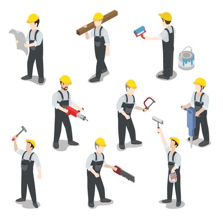 Illustration pour Flat 3d isometric builder construction worker icon set concept web infographics vector illustration. Carpenter painter driller architect foreman swamper. Creative people collection. - image libre de droit