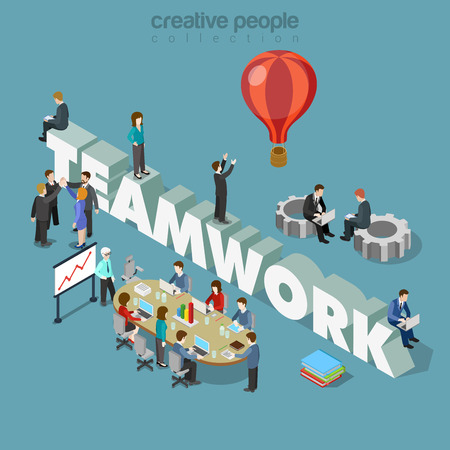 Illustration pour Flat 3d isometric style teamwork concept web infographics vector illustration. Businessmen at meeting table cogwheels and big teamwork word. Creative people collection. - image libre de droit