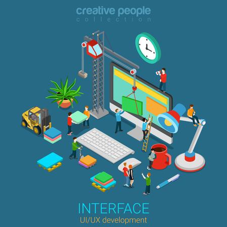 Ilustración de Flat 3d isometric mobile UI/UX GUI design web infographic concept vector. Crane people creating interface on computer. User interface experience usability mockup wireframe software development concept - Imagen libre de derechos