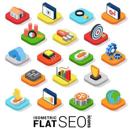 Illustration pour Flat 3d isometric trendy style SEO search engine optimization marketing web mobile app infographics icon set. Website application collection. - image libre de droit