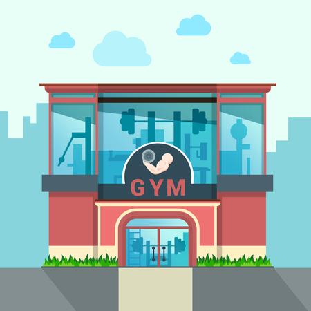 Ilustración de Gym building exterior outdoor front view facade showcase window concept. Flat style web site vector illustration. No people. Sports exercise conceptual. - Imagen libre de derechos