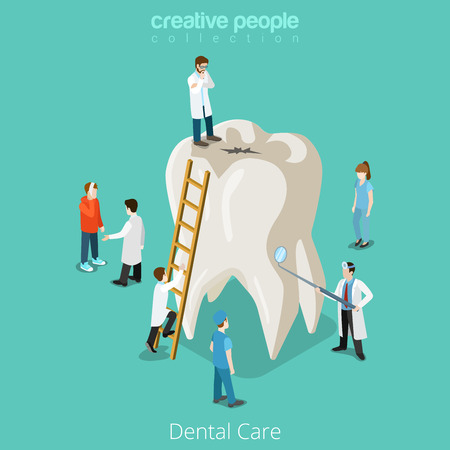 Illustrazione per Dental Care micro dentist patient people and huge tooth healthcare concept. Flat 3d isometric isometry vector web site illustration. Creative people collection. - Immagini Royalty Free