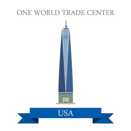 Ilustración de One World Trade Center New York United States. Flat cartoon style historic sight showplace attraction web site vector illustration. World city vacation travel sightseeing North America USA collection - Imagen libre de derechos