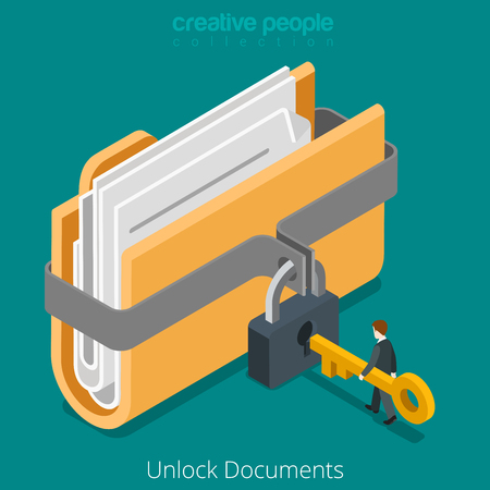 Ilustración de Unlock folder secure data file document with lock key icon. Flat 3d isometry isometric web vector illustration. - Imagen libre de derechos