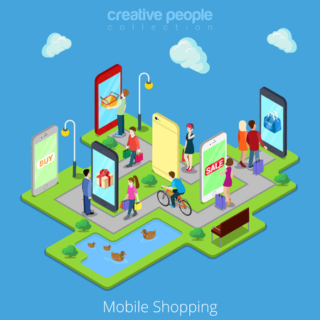 Illustrazione per Flat 3d web isometric mobile e-commerce electronic business online mobile shopping sales infographic concept vector. People walk streets between stores boutiques inside smartphones tablets. - Immagini Royalty Free